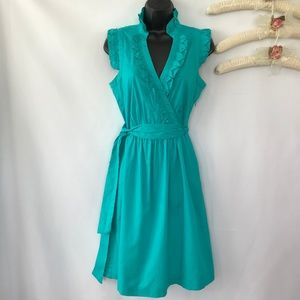 Jessica Howard Turquoise Midi Dress With Side Tie